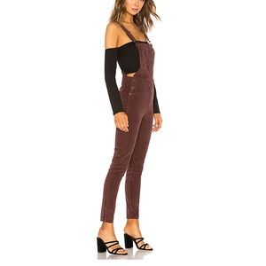 Free People Slim Ankle Cord Overall in Chocolate